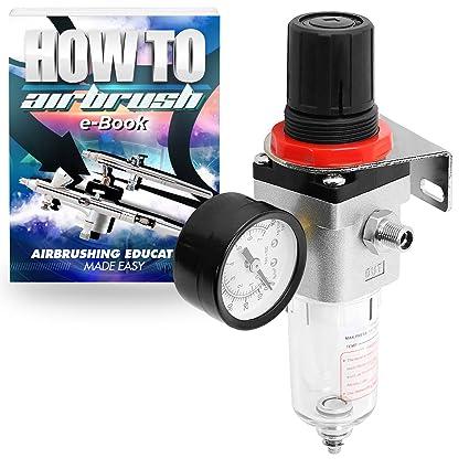 PointZero Airbrush Pro aerógrafo compresor de Aire regulador con Water-Trap Filtro