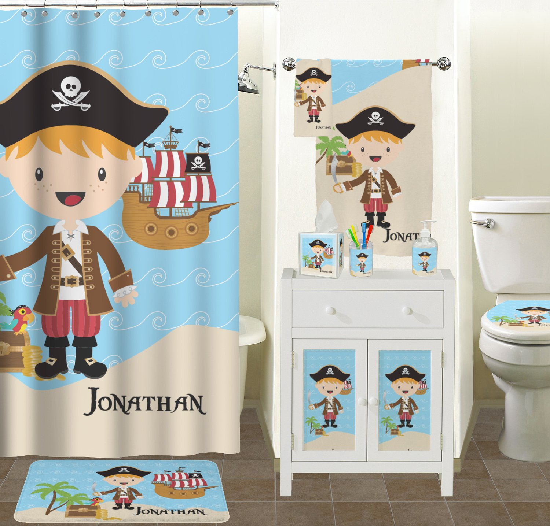 Amazon.com: Pirate Scene Bathroom Accessories Set (Personalized): Home U0026  Kitchen