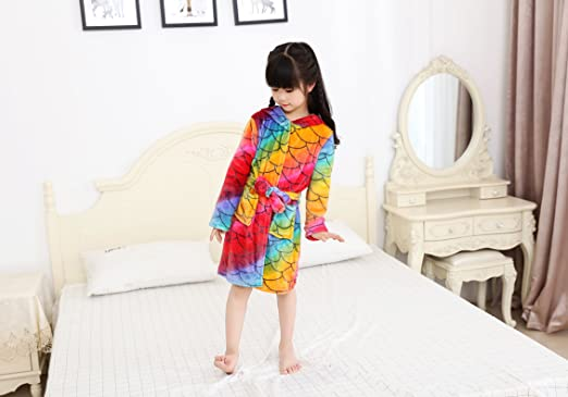 180ea811e Image Unavailable. Image not available for. Color  LANTOP Plush Pajama Kids  Nightgown Super Soft Sleepwear Cotton Cosplay Robe