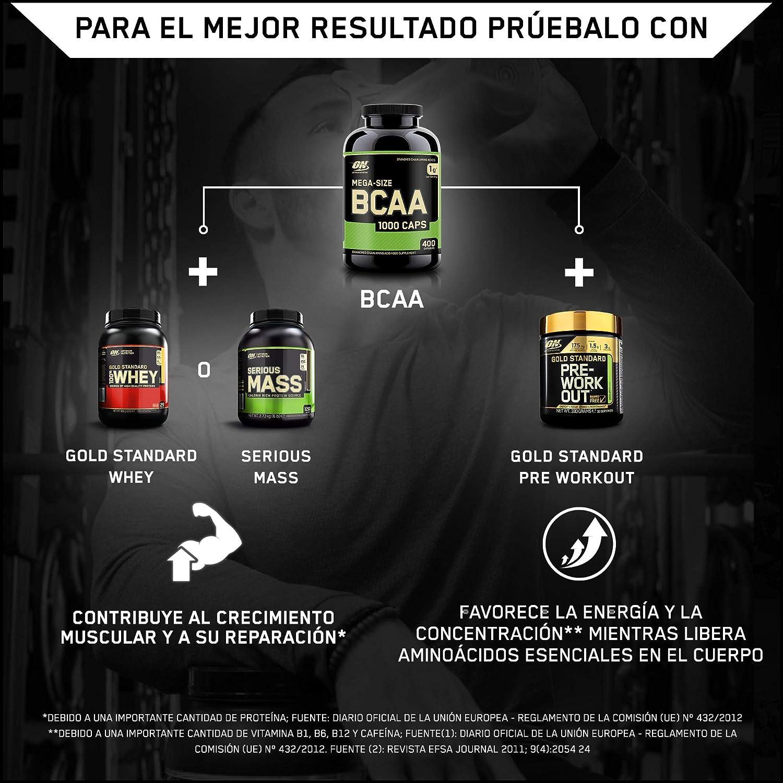 Optimum Nutrition BCAA 1000, Cápsulas BCAA, Suplementos Deportivos, Rico en Aminoacidos Ramificados y Esenciales, para Mejor Recuperación, Sin Sabor, ...