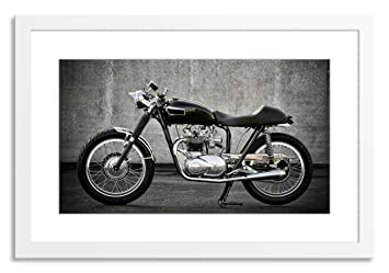 Gallery Direct Cafe Racer Motorcycle Artwork On Paper With White Clean And Simple Frame