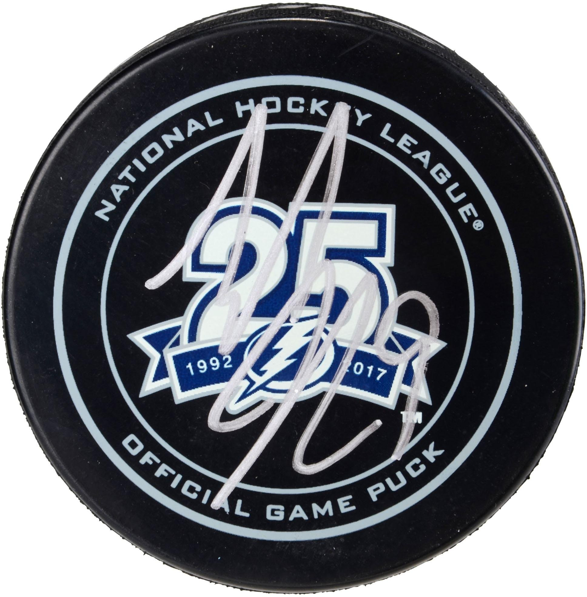 Tyler Johnson Tampa Bay Lightning Autographed 25th Anniversary Season Official Game Puck Fanatics Authentic Certified