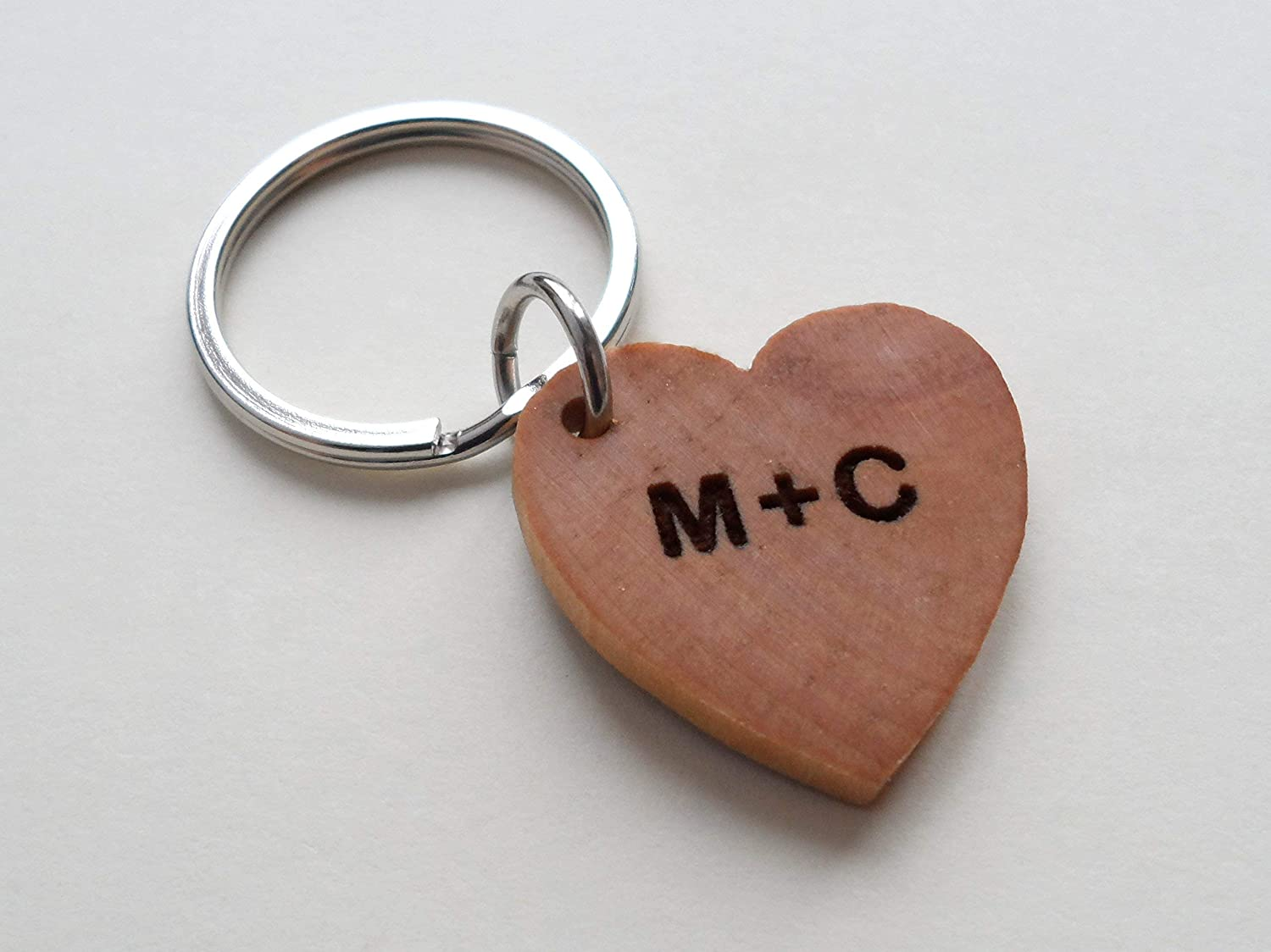 Heart Wooden Key chain gift for him gift idea Personalized key chain