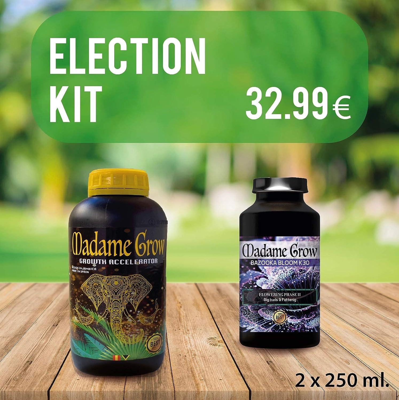 MADAME GROW ⭐️⭐️⭐️⭐️⭐️ Kit Election DUOPACK - Proporciona a tú Planta de Marihuana o Cannabis los Mejores Fertilizantes Orgánicos para nutrición, Crecimiento y engorde de Cogollos. 2 X 250 ml
