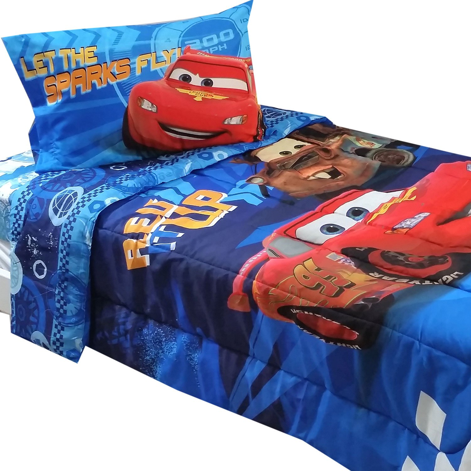 Amazon com  4pc Disney Cars Twin Bedding Set Lightning McQueen City Limits  Comforter and Sheet Set  Home   Kitchen. Amazon com  4pc Disney Cars Twin Bedding Set Lightning McQueen