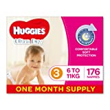 Huggies Ultra Dry Nappies, Girls, Size 3 (6-11kg), 176 Count, Size 3, One-Month Supply