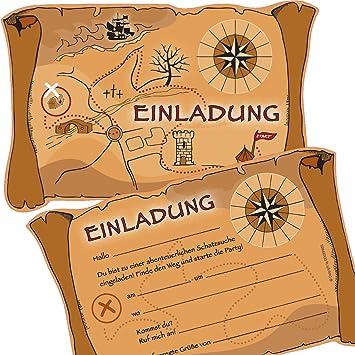 6 Einladungskarten * SCHATZSUCHE * Für Eine Mottoparty, Schnitzeljagd Oder  Kindergeburtstag Von DEKOSPASS //
