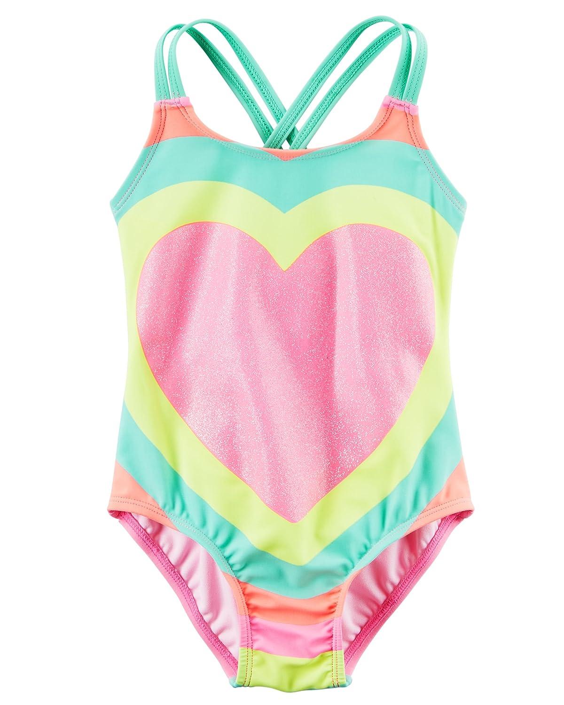 2a9c3bc559434 Amazon.com  Carter s Toddler Girls  Glitter Heart Swimsuit