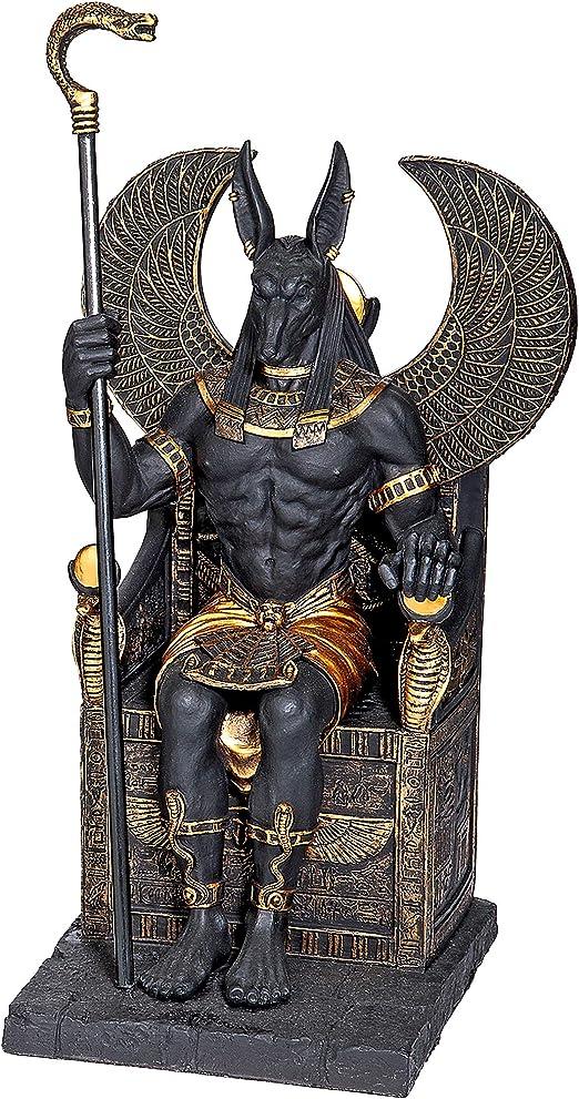 "Egyptian God Anubis Jackal Deity of Death//Afterlife Scepter Ankh 12/"" Tall Statue"
