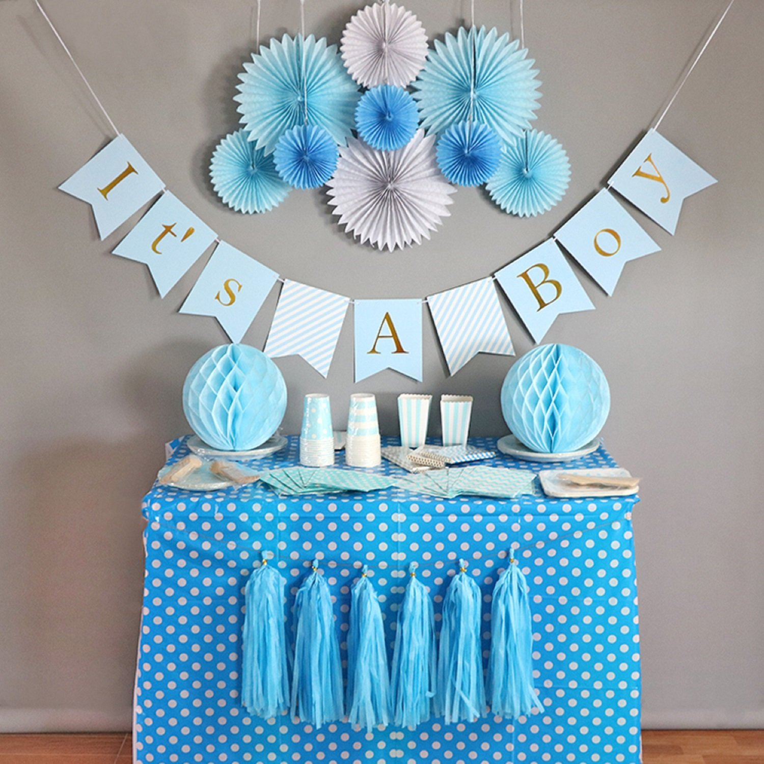 Baby Shower Decorations For Boy, Itu0027s A Boy, Banner, Tissue Paper, Fans