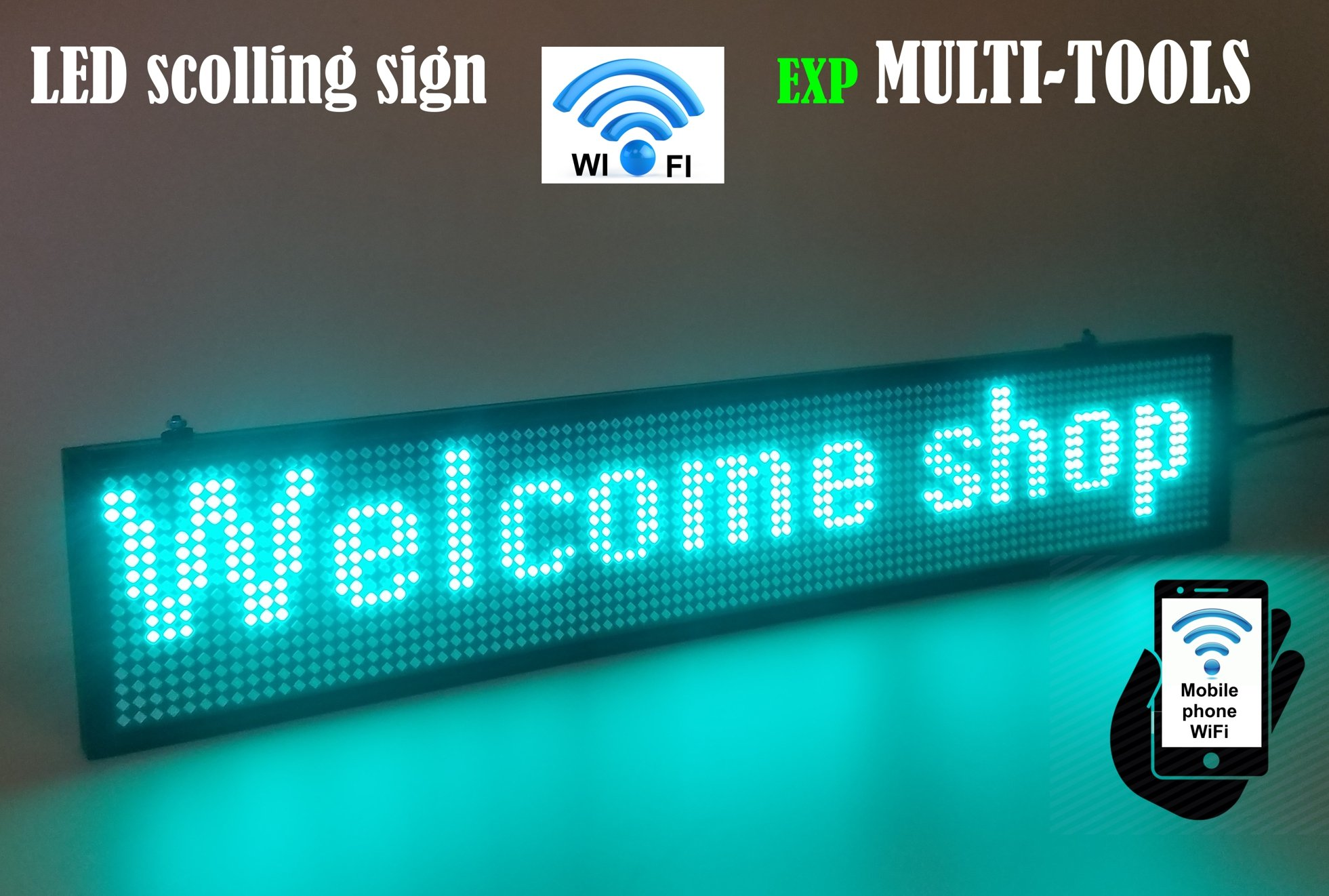 LED Display Green Color with WiFi Connection, LED Scrolling Message Sign, Bright and in New Light auminum Housing
