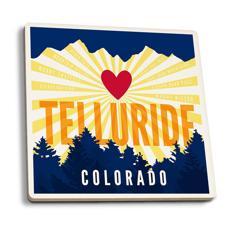 Telluride、コロラド – ハートと山 4 Coaster Set LANT-81325-CT 4 Coaster Set  B079YP4WCC