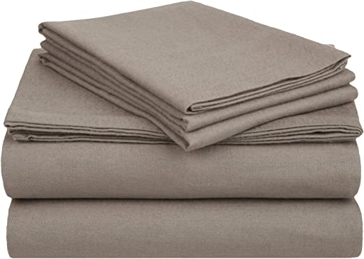 Amazon Com Superior Premium Cotton Flannel Sheets All Season 100 Brushed Cotton Flannel Bedding 4 Piece Sheet Set With Deep Fitting Pockets Grey Solid California King Bed Home Kitchen