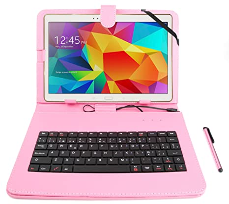"""DURAGADGET Funda/Teclado ESPAÑOL Rosa para Samsung Galaxy Tab S2 9.7"""" - con Letra"""