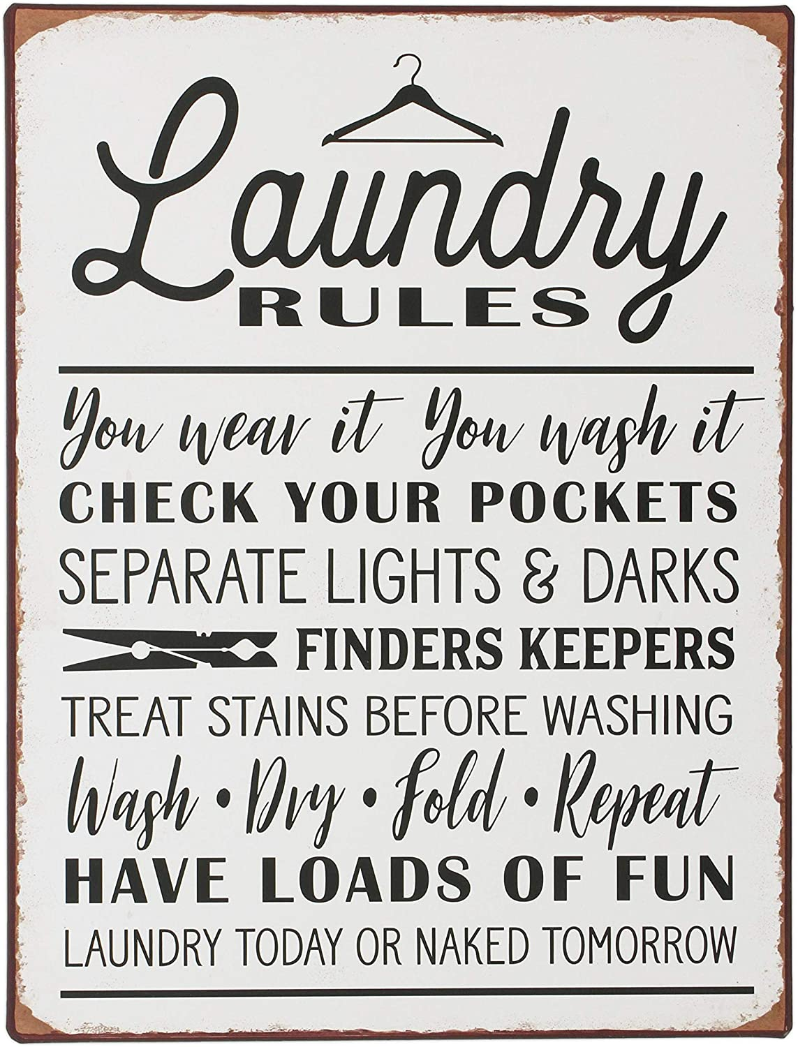 The Bridge Collection 'Laundry Rules' Funny Distressed Metal Sign