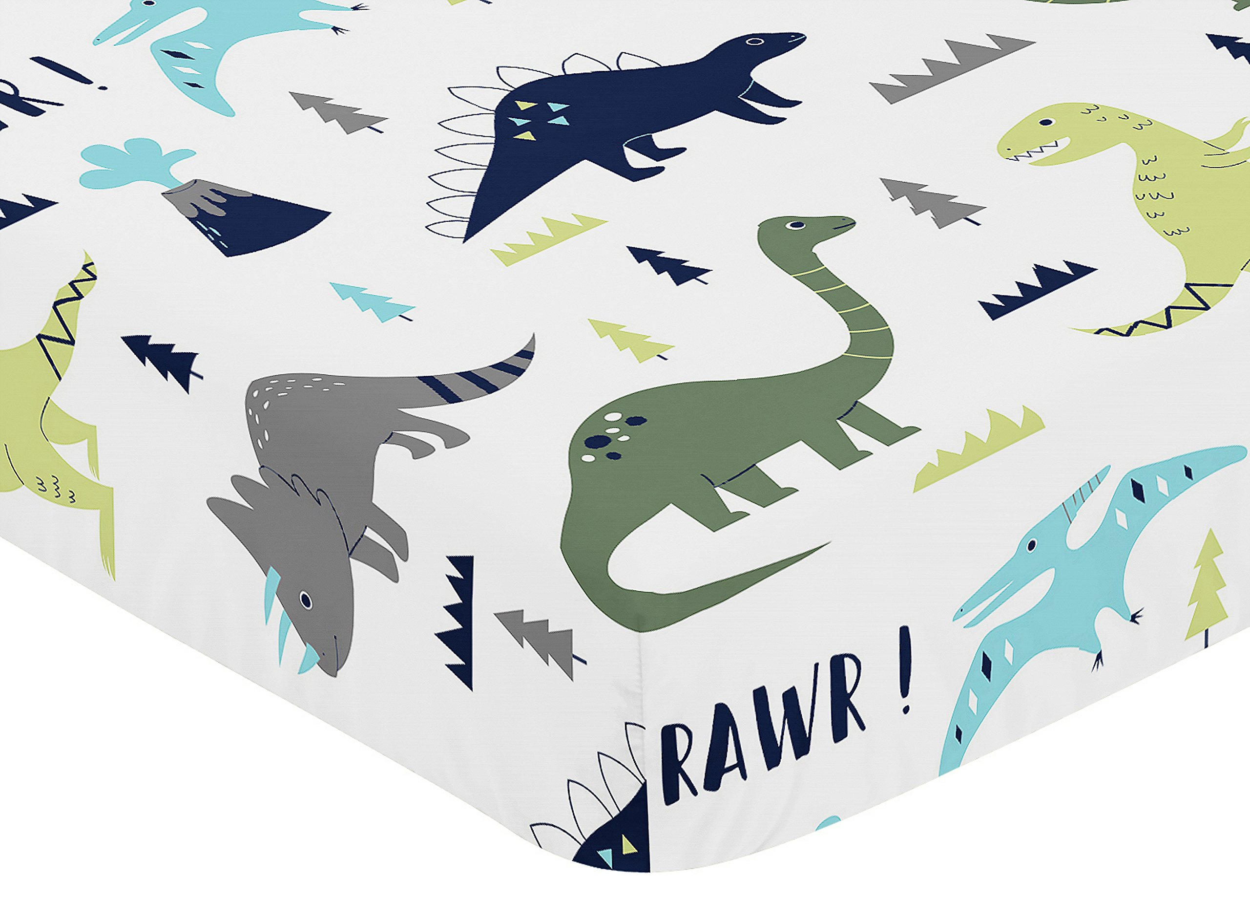 Sweet Jojo Designs Fitted Crib Sheet for Blue and Green Modern Dinosaur Baby/Toddler Bedding Set Collection - Dinosaur Print