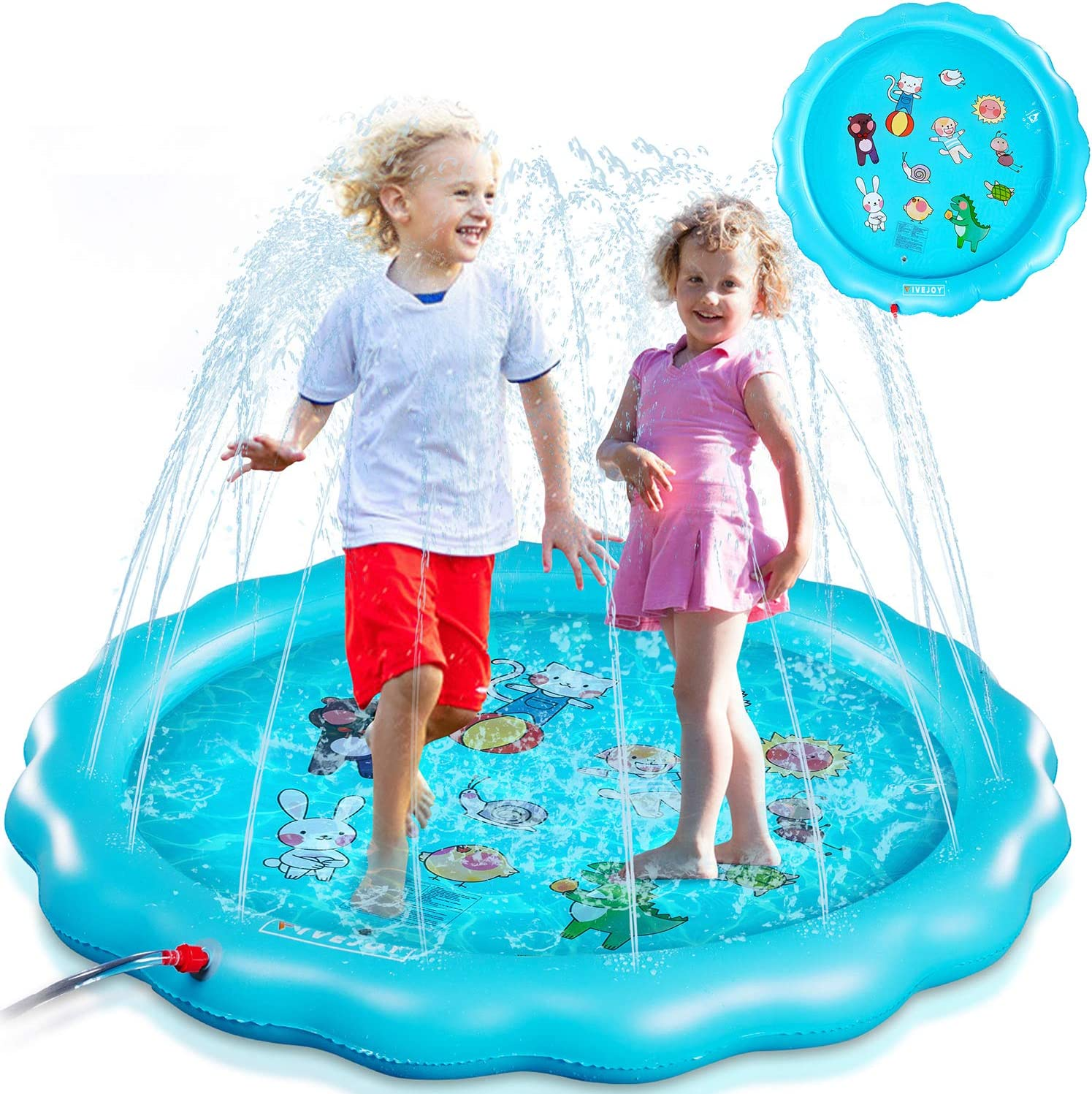 67 Splash Pad for Babies and Toddlers Fun Backyard Party Outdoor Summer Water Toys /& Splash Play Mat for Girls Boys Wading Swimming Kiddie Pool FiveJoy Sprinkler for Kids