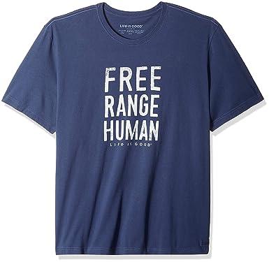 Life is Good M Crusher Tee Free Range Human Dstblu: Amazon