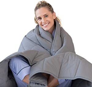 LUNA Adult Weighted Blanket | 15 lbs - 60x80 - Queen Size Bed | 100% Oeko-Tex Certified Cooling Cotton & Premium Glass Beads | Designed in USA | Heavy Cool Weight for Hot & Cold Sleepers | Dark Grey