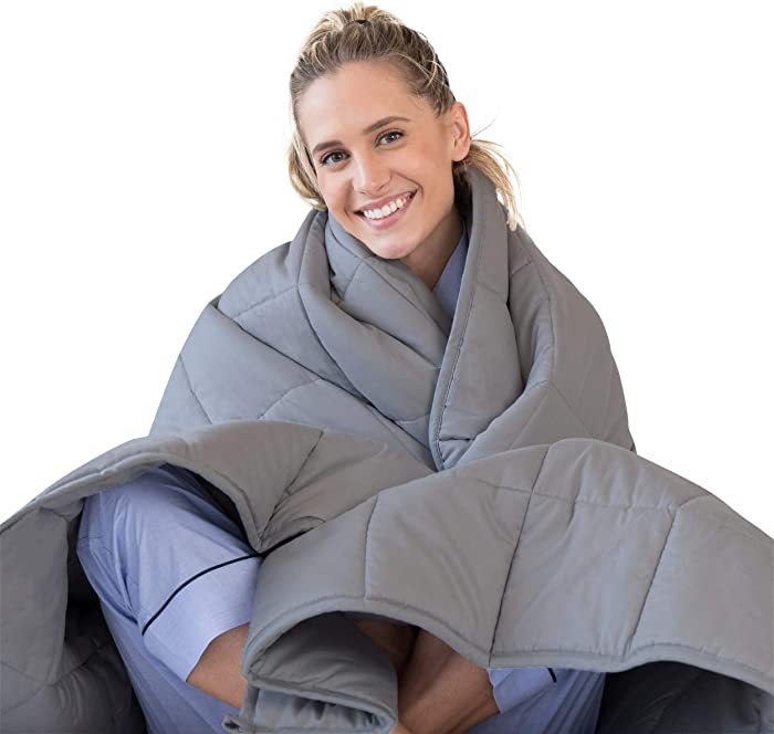 LUNA Adult Weighted Blanket | 15 lbs - 48x72 - Full Size Bed | 100% Oeko-Tex Certified Cooling Cotton & Premium Glass Beads | Designed in USA | Heavy Cool Weight for Hot & Cold Sleepers | Dark Grey