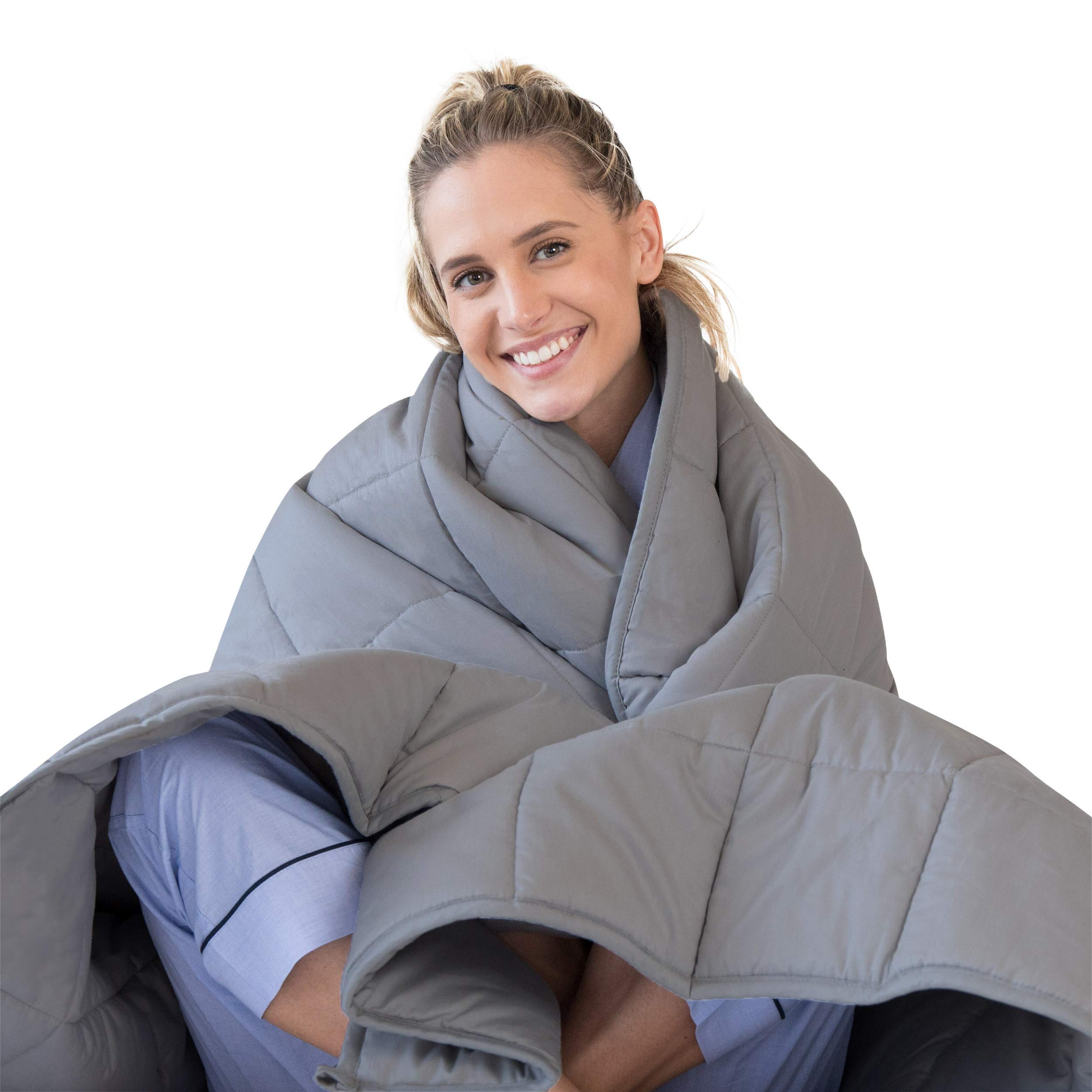 LUNA Weighted Blanket (15 lbs - 60x80 - Queen Size) - Organic Cooling Cotton & Premium Glass Beads - Designed in USA - Heavy Cool Weighted Blanket for Hot & Cold Sleepers - Kids or Adult - Dark Grey by LUNA