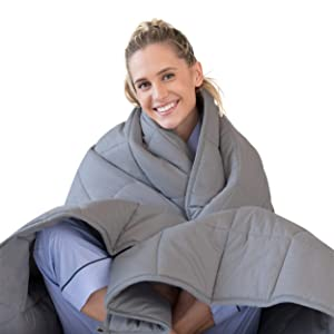 LUNA Adult Weighted Blanket | 22 lbs - 60x80 - Queen Size Bed | 100% Oeko-Tex Certified Cooling Cotton & Premium Glass Beads | Designed in USA | Heavy Cool Weight for Hot & Cold Sleepers | Dark Grey
