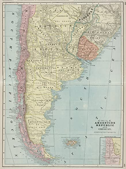 Amazon world atlas 1901 chile argentine republic and uruguay world atlas 1901 chile argentine republic and uruguay historic antique vintage map gumiabroncs Choice Image