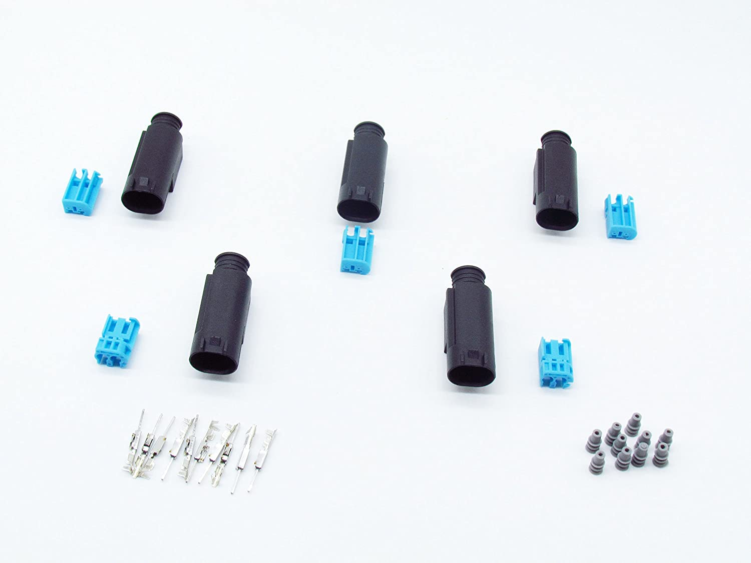 CNKF 5 Sets AMP//Tyco//TE 2 pins male black waterproof connector for BWM Porsche benz 7-967570-3
