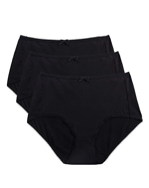 ed667a9b7ecc VANEVER Women's Full Briefs, Cotton Lycra Briefs, 3 Pack, High Rise Plain  Knickers, Classic Briefs Panties Multipack