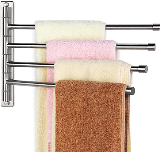 Amazon Com Homeideas Swing Out Towel Bar Sus304 Stainless Steel 4 Bar Folding Arm Swivel Hanger Bathroom Storage Organizer Wall Mount Towel Rack Brushed Finish Home Kitchen