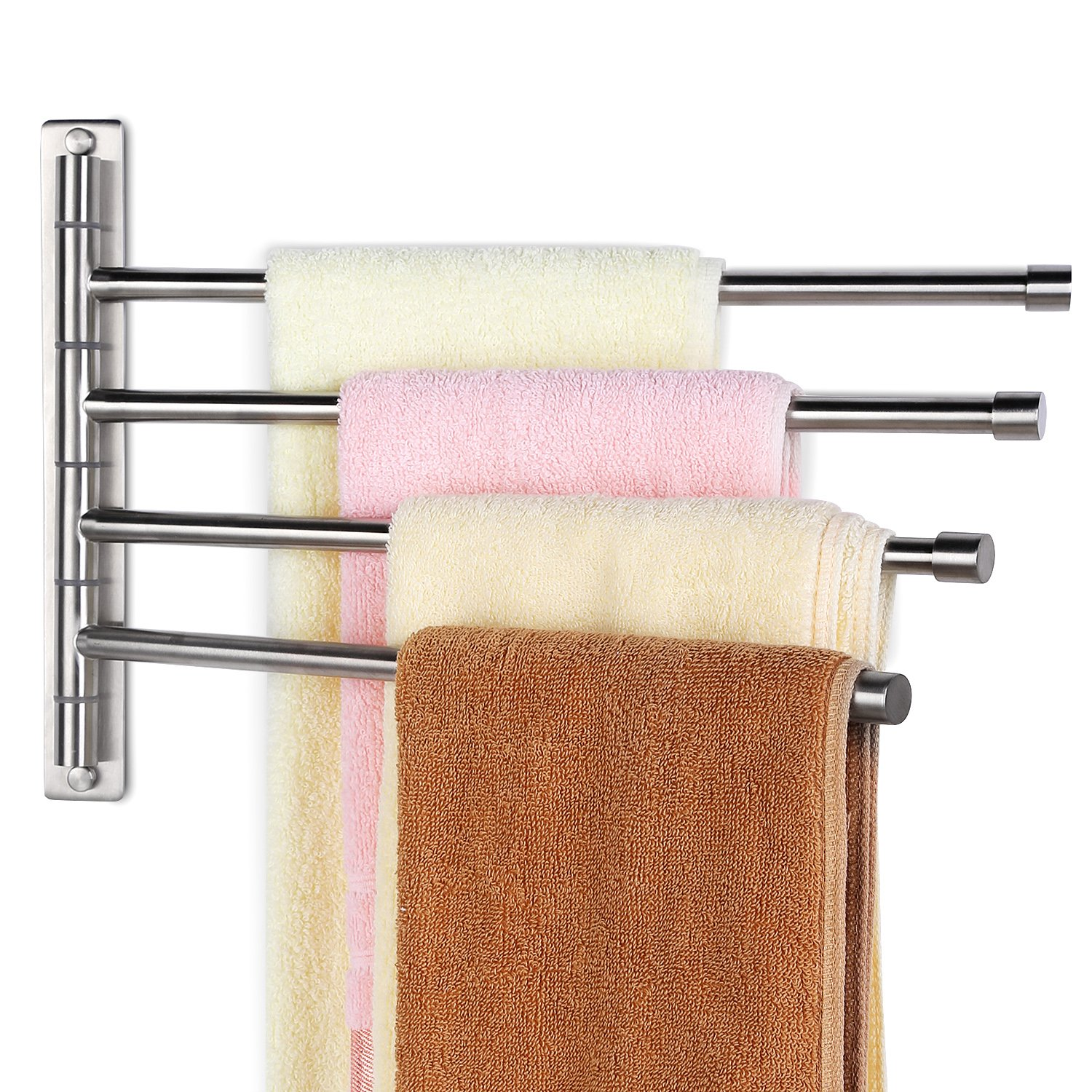 HOMEIDEAS Swing Out Towel Bar SUS304 Stainless Steel 4-Bar Folding Arm Swivel Hanger Bathroom Storage Organizer Wall Mount Towel Rack,Brushed Finish by HOMEIDEAS