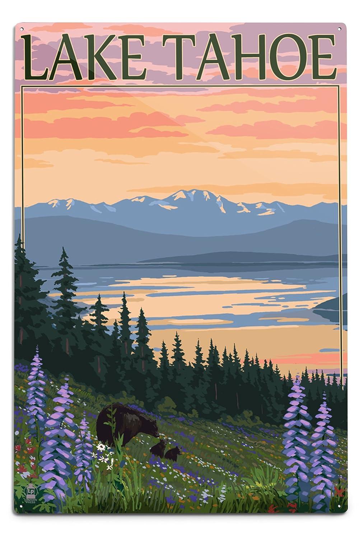 Lake Tahoe – Bear Family and Spring Flowers 12 x 18 Metal Sign LANT-46392-12x18M B06Y1HSCMZ  12 x 18 Metal Sign