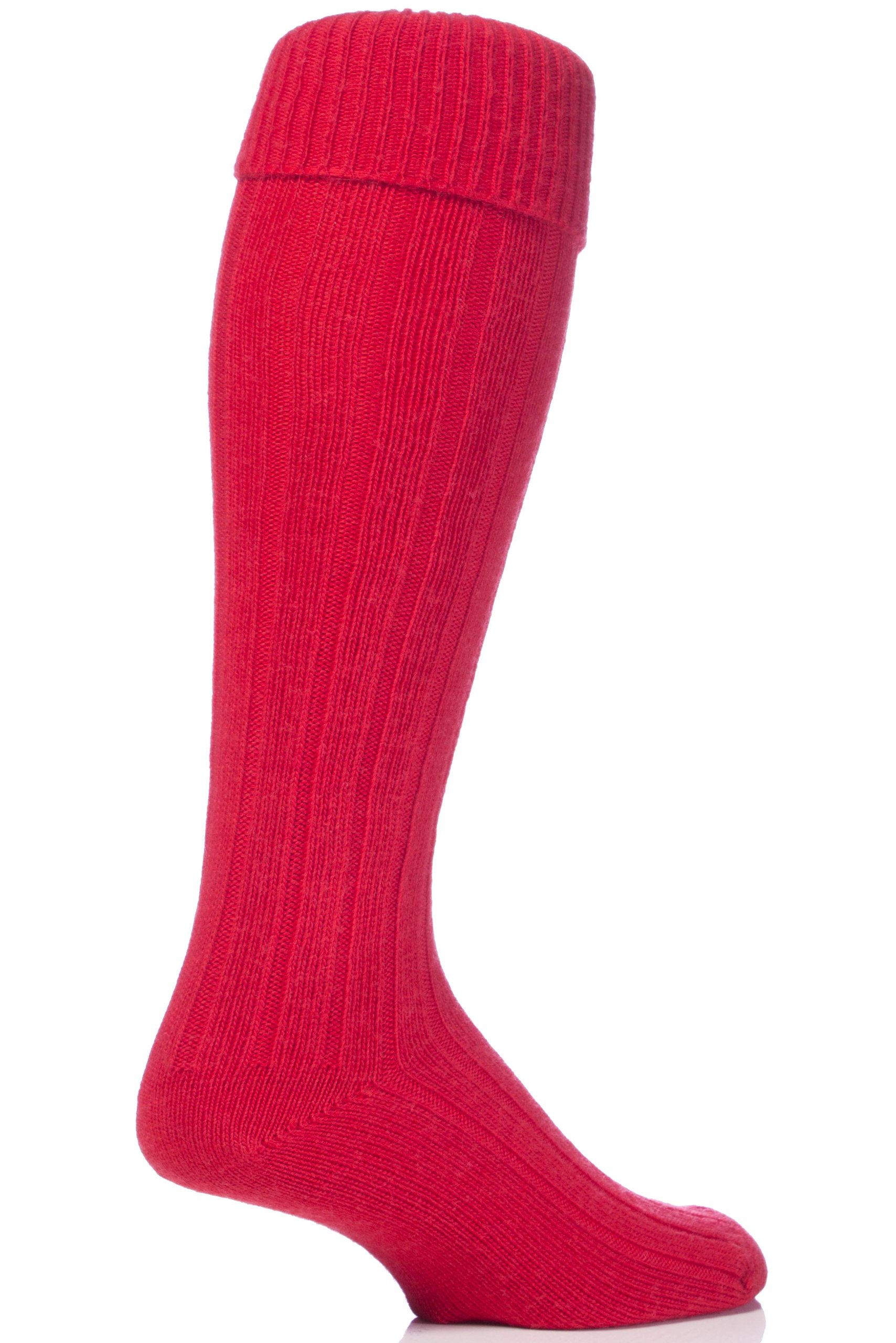 Glenmuir Men's 1 Pair Birkdale Golf Wool Knee High Socks with Turn Over Cuff 8-11 Red by Glenmuir