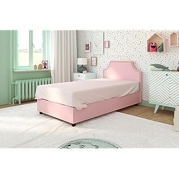 Amazon.com: DHP Melita Linen Upholstered Platform Bed Frame,Pink ...