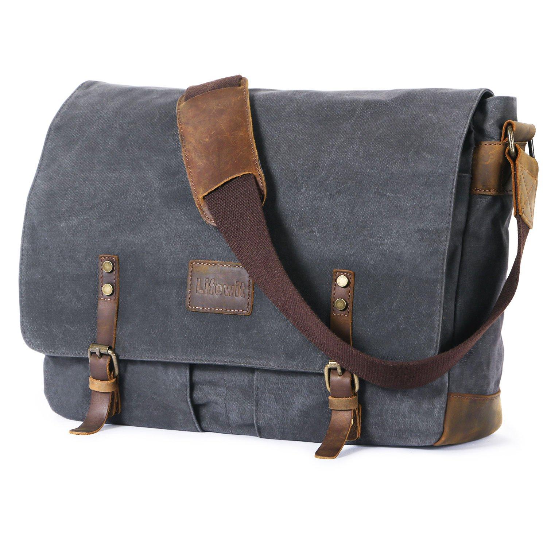 Lifewit Wax Canvas Messenger Bag Cross Body Laptop Computer shoulder Bag