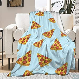 Qutown Novelty Realistic Pizza Food Blanket Throw Soft Lightweight Warm Cozy Flannel Fleece Women Adults and Kids Gifts for Couch Bed Sofa 50