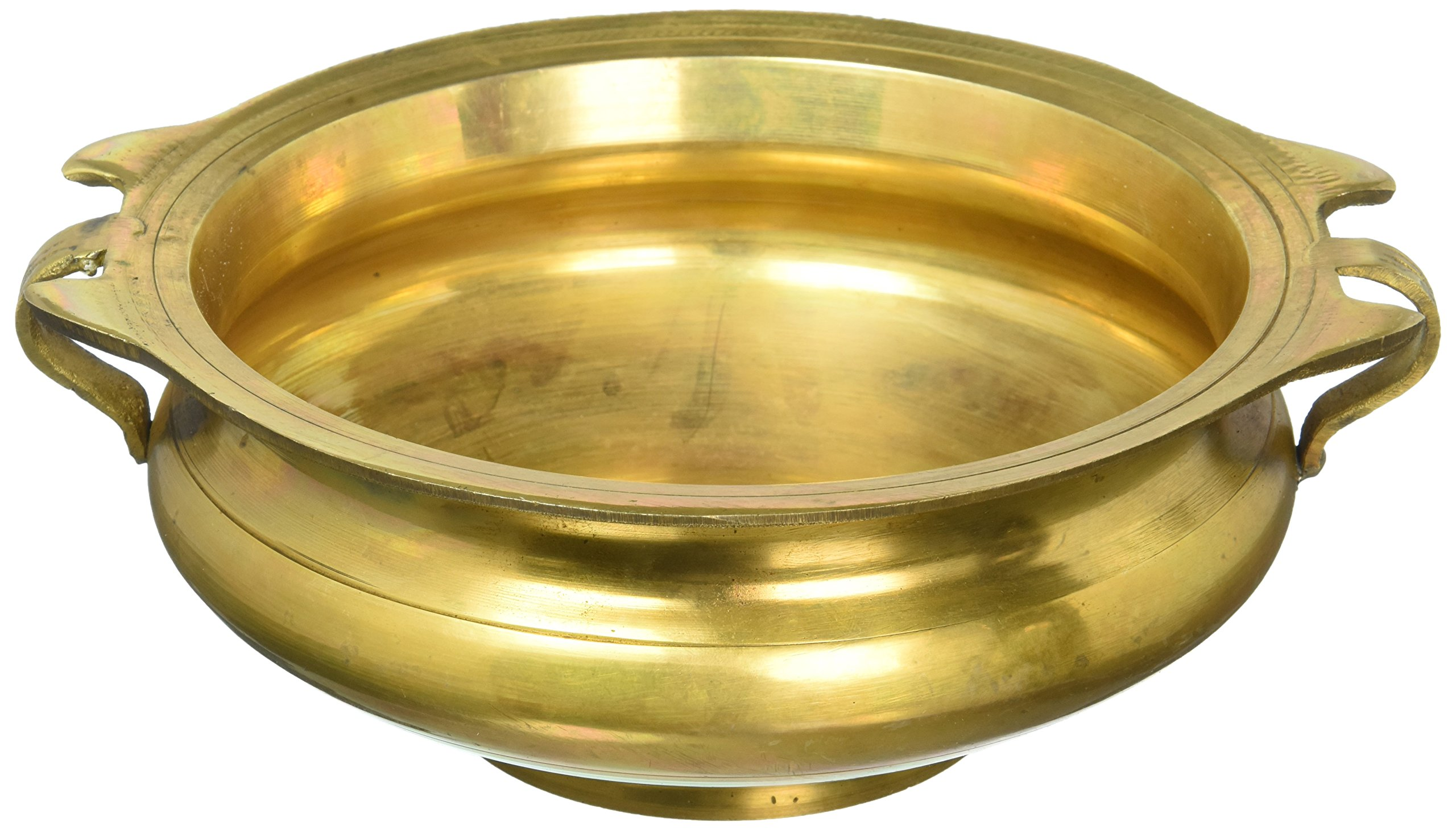 Handmade Brass Urli - 3 by 8 Inch Uruli Bowl - Suitable for Decorating, Offerings & Even Serving Food - Artisan Crafted in India