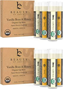 Organic Lip Balm Honey Vanilla - 8 Tubes of Natural Lip Balm, Lip Moisturizer, Lip Treatment for Dry Lips, Lip Care Gifts for Women or Men, Lip Repair, Organic Chapstick, Stocking Stuffer Ideas