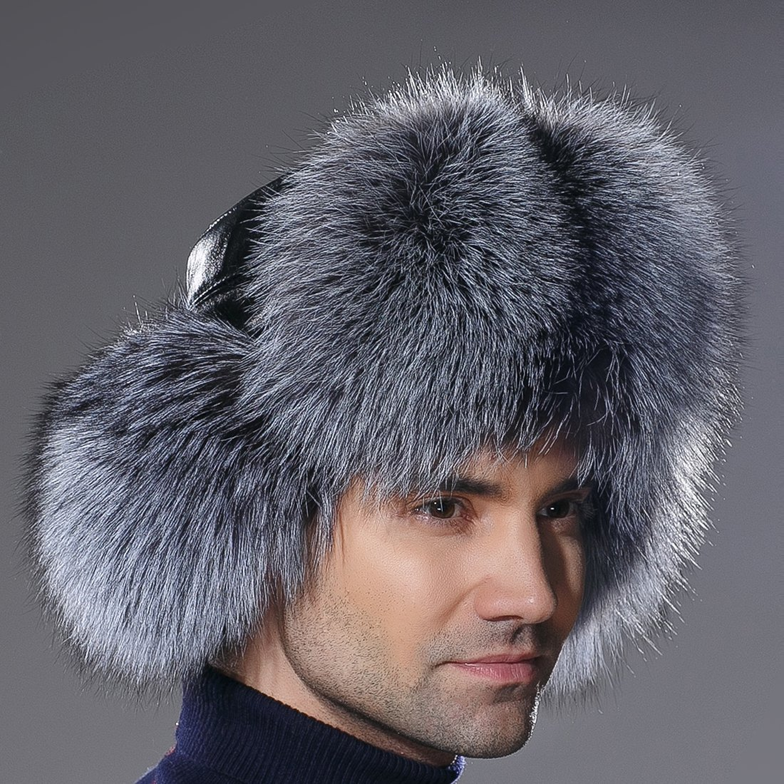 URSFUR Winter Russian Fur Hat Mens Real Silver Fox Fur Ushanka Trapper Cap by URSFUR (Image #4)