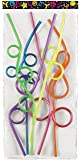 Silly Crazy Loop Straws, Assorted Colors, Pack of 36