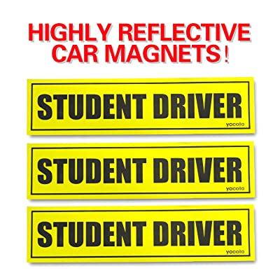 Set of 3 Please Be Patient Student Driver Magnetic Sign - Reflective Vehicle Car Signs Safety Sticker Bumper Magnet for New Drivers: Automotive
