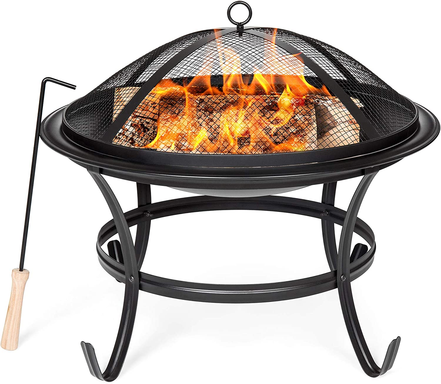 Best Choice Products 22in Steel Outdoor BBQ Grill Fire Pit Bowl w Screen Cover, Log Grate, Poker for Camping, Bonfire