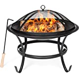 Best Choice Products 22-inch Outdoor Patio Steel BBQ Grill Fire Pit Bowl w/Spark Screen Cover