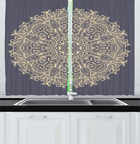 Amazon Com Ambesonne Mandala Kitchen Curtains Style Floral Mystery Deep Active Love Sun Moon Sign Boho Art Design Window Drapes 2 Panel Set For Kitchen Cafe Decor 55 X 39 Blue Ivory Home