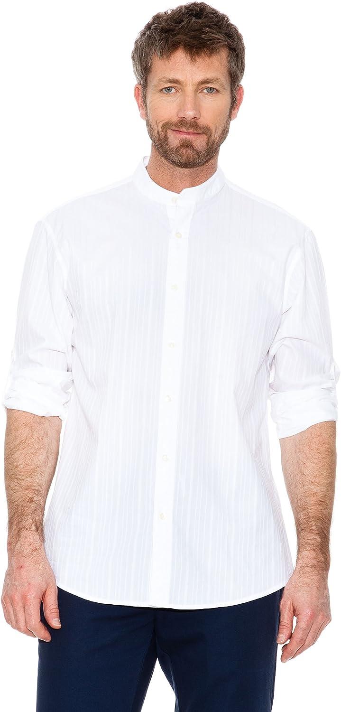 Cortefiel Camisa Cuello Mao Blanco M: Amazon.es: Ropa y accesorios