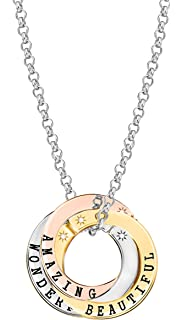 Lily & Lotty Scripted 3 Colour Hand Set Diamonds I Love You 3 Tone Message Necklace of 75 cm