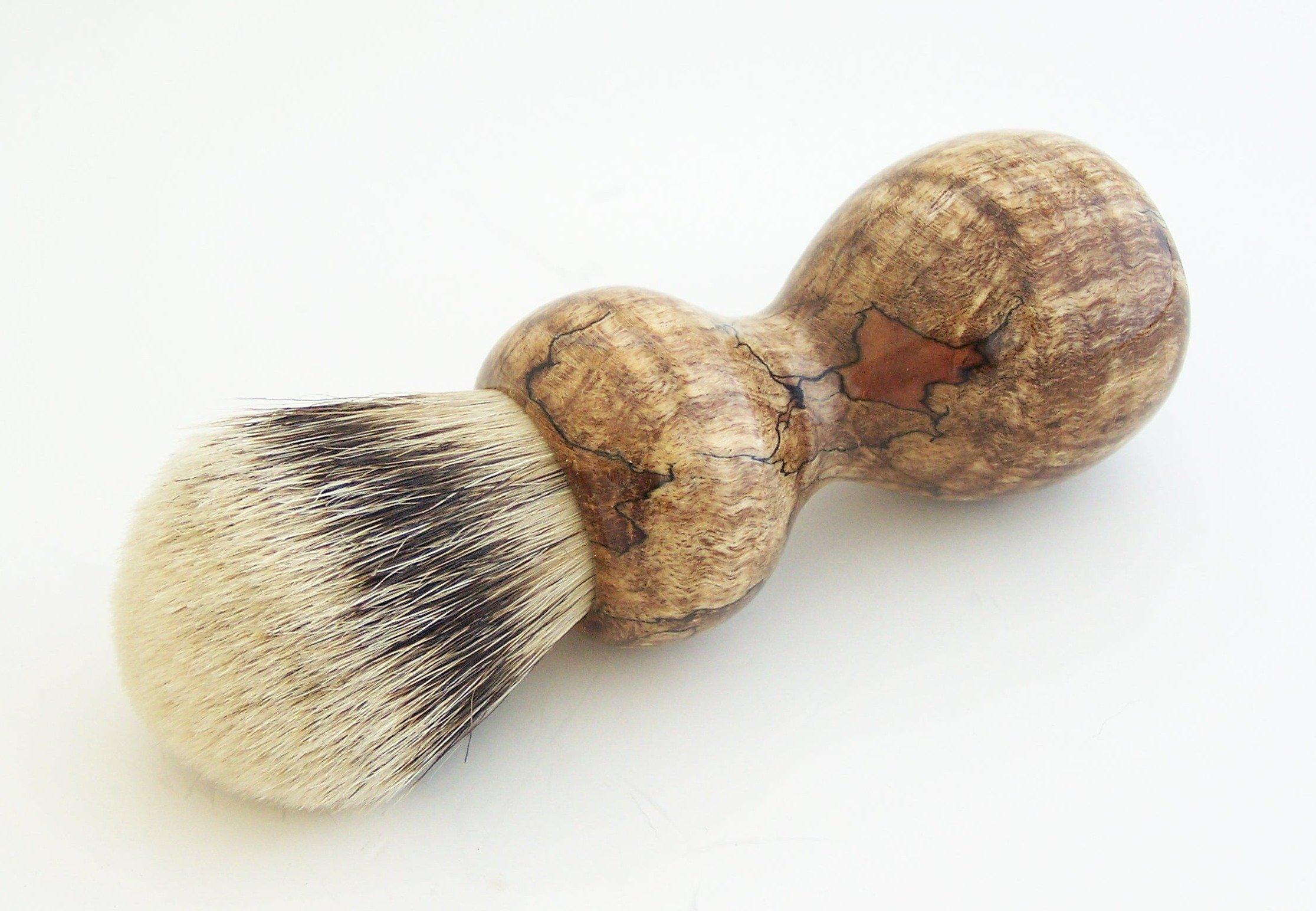 Stabilized Spalted Maple Burl Wood 24mm Super Silvertip Shaving Brush (M14)