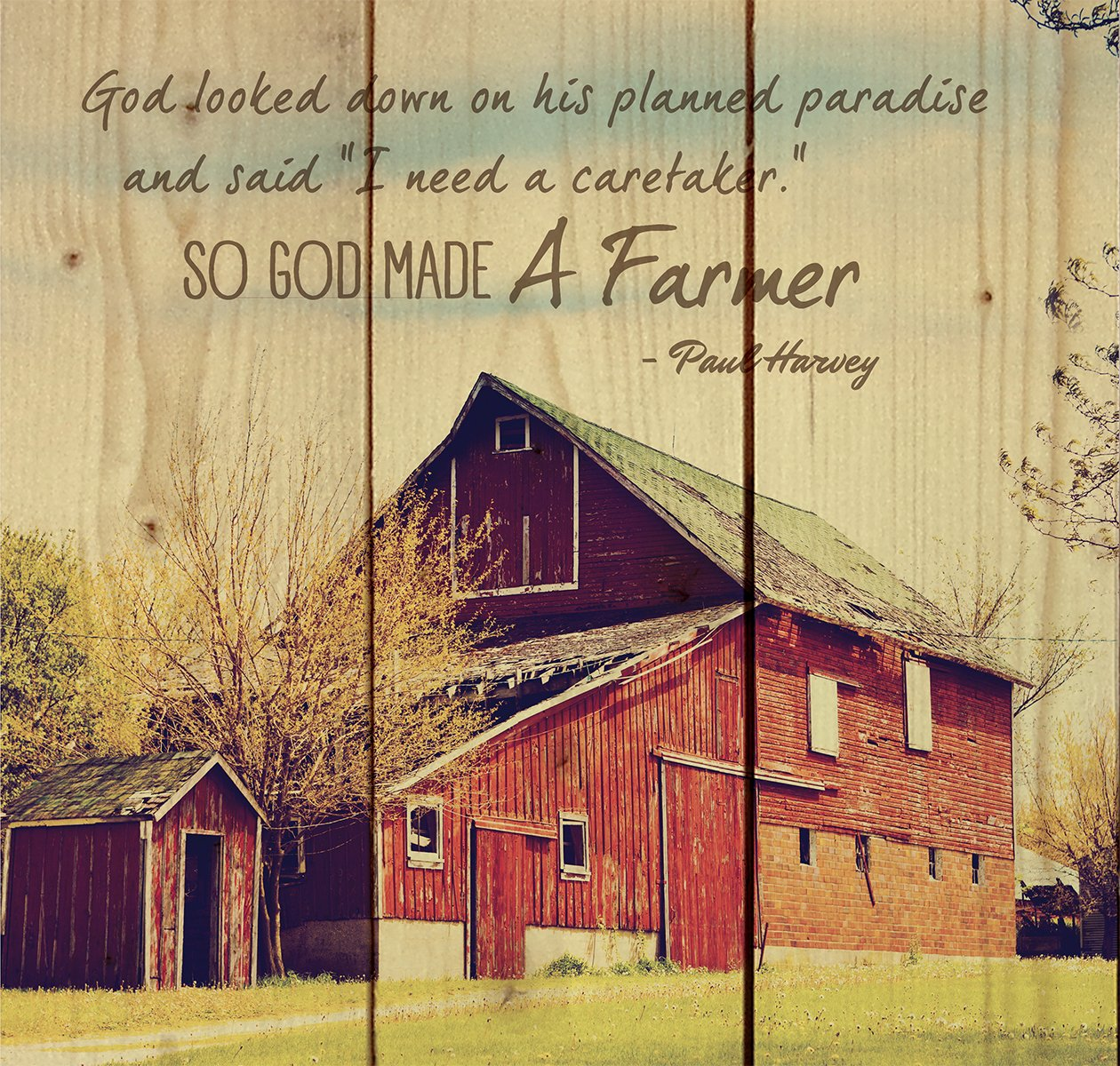Amazon.com: So God Made a Farmer Old Red Barn 10 x 10 Wood Pallet ...
