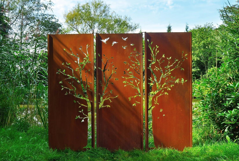 Gartenwand Sichtschutz Triptychon Baum Rost Stahl 225x195 Cm