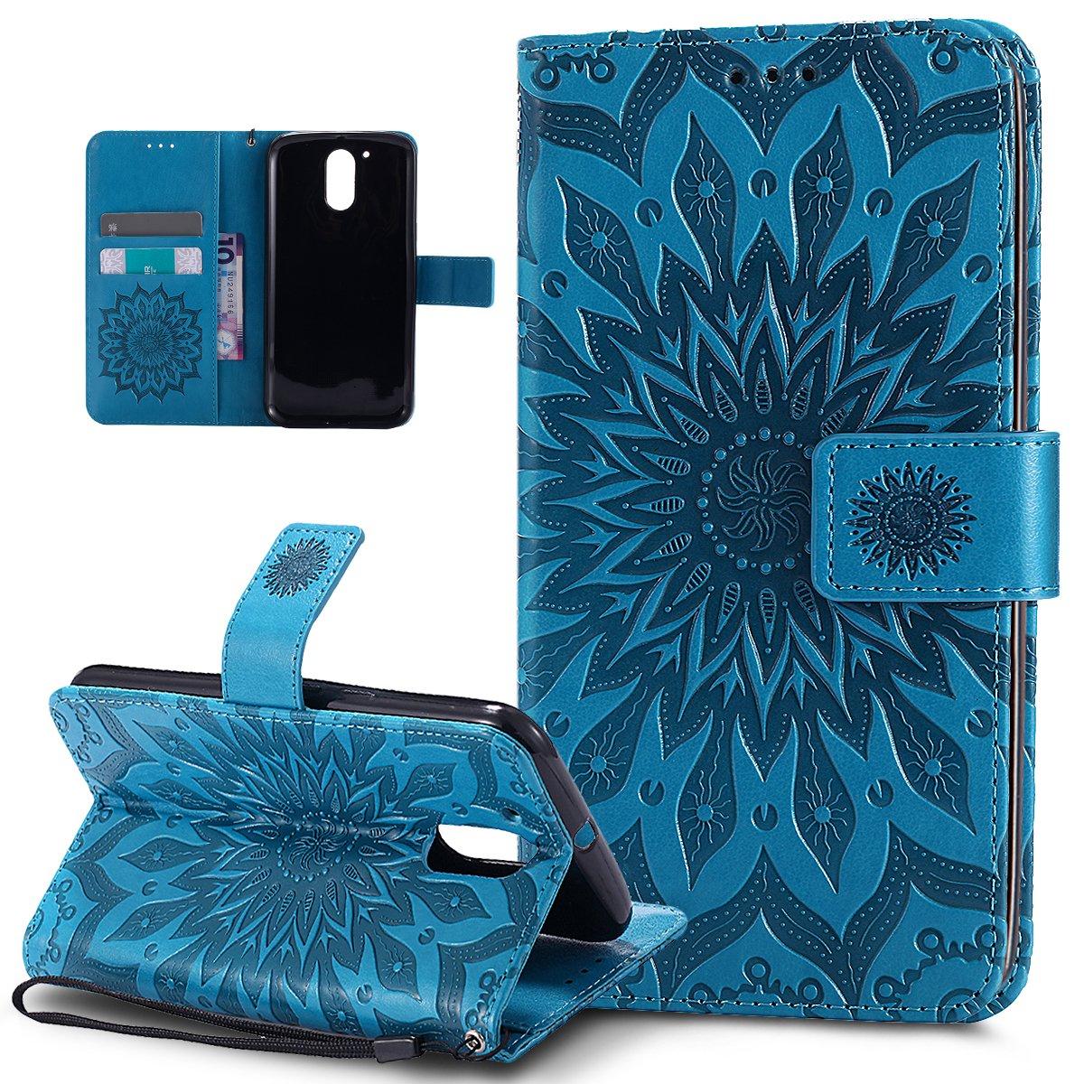 Motorola Moto G4 Hü lle, Motorola Moto G4 Plus Hü lle, Prä gung Mandala Blumen Sonnenblume Muster PU Lederhü lle Flip Hü lle Cover Stä nder Wallet Tasche Case Schutzhü lle fü r Motorola Moto G4/G4 Plus, Grau ikasus